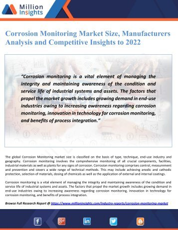 Corrosion Monitoring Market Size, Manufacturers Analysis and Competitive Insights to 2022