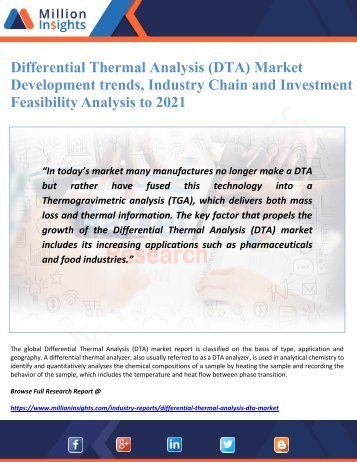 Differential Thermal Analysis (DTA) Market Development trends, Industry Chain and Investment Feasibility Analysis to 2021