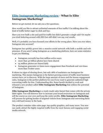 Elite Instagram Marketing review and (COOL) $32400 bonusesbonus