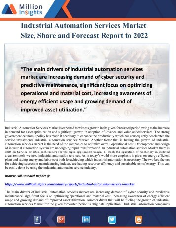 Industrial Automation Services Market Size, Share and Forecast Report to 2022