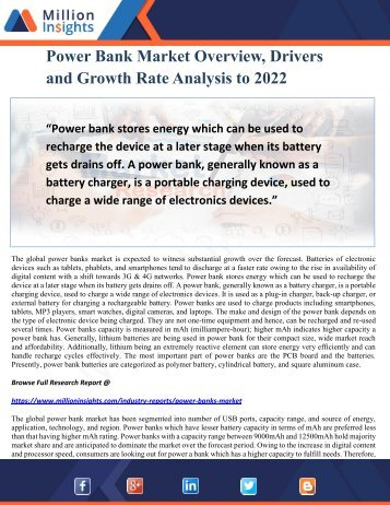 Power Bank Market Overview, Drivers and Growth Rate Analysis to 2022