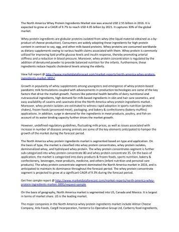 North America  Whey Protein Ingredients Market is to reach 4.05 billion USD – Market data forecast