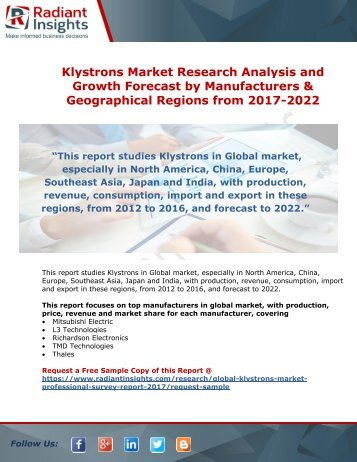 Klystrons Market Analysis and Growth Forecast From 2017-2022