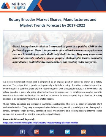 Rotary Encoder Market Shares, Manufacturers and Market Trends Forecast by 2017-2022