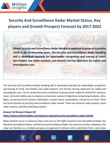 Security And Surveillance Radar Market Status, Key players and Growth Prospect Forecast by 2017-2022