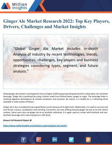 Ginger Ale Market 2022 by Manufacturers, Challenges