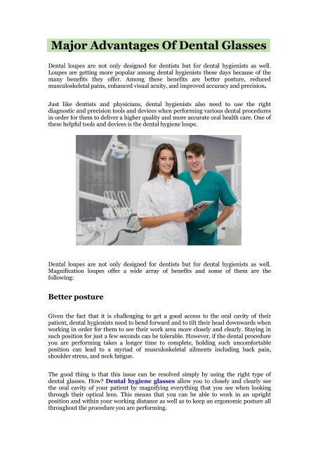Major Advantages Of DentalGlasses