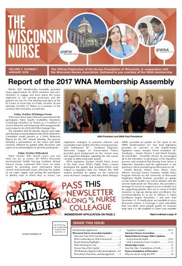 The Wisconsin Nurse - January 2018