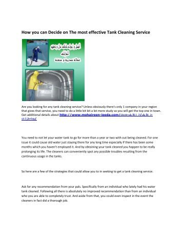 6 Company cleaning tanks in Jeddah