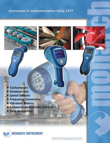 Monarch Instruments Product Brochure for Test & Inspection Tools
