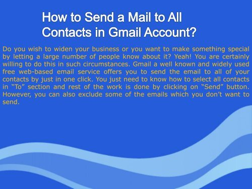 How to Send a Mail to All Contacts in Gmail Account?