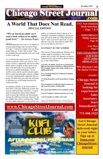 A World That Does Not Read - Chicago Street Journal for Tuesday, December 12, 2017