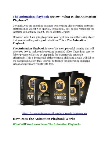 The Animation Playbook review and (Free) $21,400 Bonus & Discount