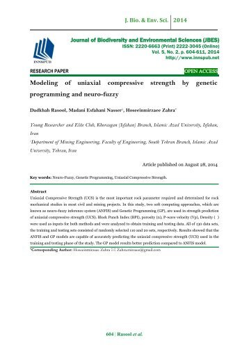 Modeling of uniaxial compressive strength by genetic programming and neuro-fuzzy