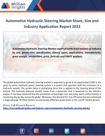 Automotive Hydraulic Steering Market Share, Size and Industry Application Report 2022