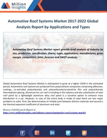 Automotive Roof Systems Market 2017-2022 Global Analysis Report by Applications and Types