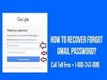 How to Recover Forgotten Gmail Password? 1800-243-0019 for Help