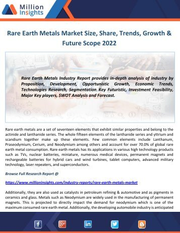 Rare Earth Metals Market Size, Share, Trends, Growth & Future Scope 2022