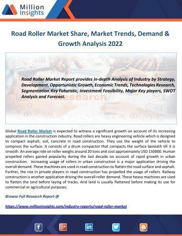 Road Roller Market Share, Market Trends, Demand & Growth Analysis 2022
