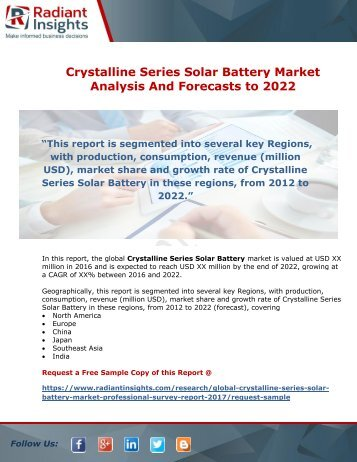 Crystalline Series Solar Battery Market Analysis And Forecasts to 2022