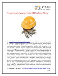 Personal Protective Equipment Market 2022 New Research Study