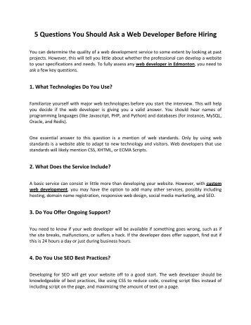 5 Questions You Should Ask a Web Developer Before Hiring
