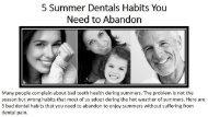 5 Summer Dentals Habits You Need to Abandon