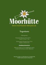 Moorhütte Speisekarte am Tag