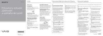 Sony SVE1111M1R - SVE1111M1R Guide de dépannage Tchèque