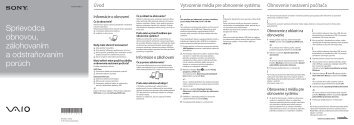 Sony SVE1111M1R - SVE1111M1R Guide de dépannage Slovaque