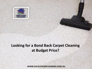 Looking for a Bond Back Carpet Cleaning at Budget Price?