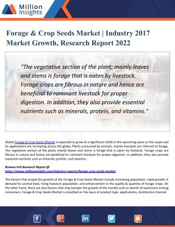 Forage & Crop Seeds Market – Global Industry Share, Size, Trends, Market Shares and Forecasts (2017 - 2022)