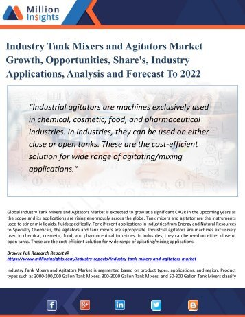 Industry Tank Mixers and Agitators Market Demand, Supply, Analysis & Forecasts Report