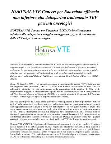 Pazienti con cancro e TEV Edoxaban efficacia non inferiore alla dalteparina