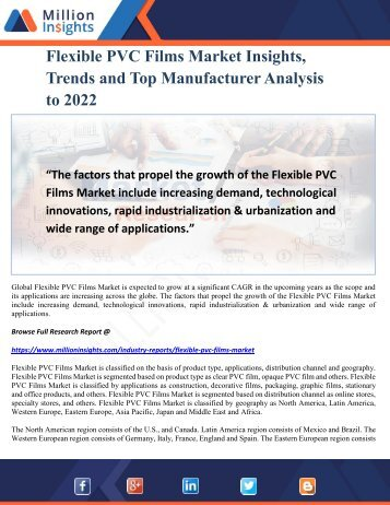 Flexible PVC Films Market Insights, Trends and Top Manufacturer Analysis to 2022