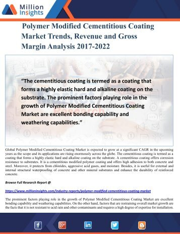 Polymer Modified Cementitious Coating Market Trends, Revenue and Gross Margin Analysis 2017-2022