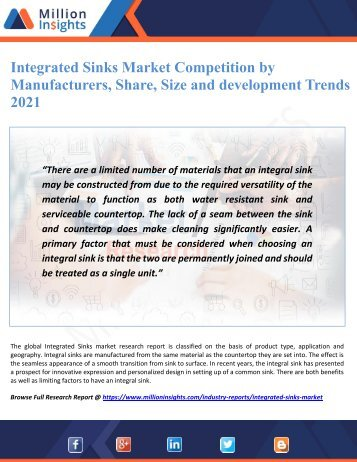 Integrated Sinks Market Competition by Manufacturers, Share, Size and development Trends 2021