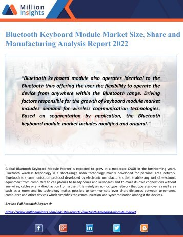 Bluetooth Keyboard Module Market Size, Share and Manufacturing Analysis Report 2022