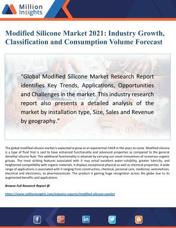 Modified Silicone Market Research 2022: Top Key Players, Drivers