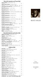 Sociale Wine List