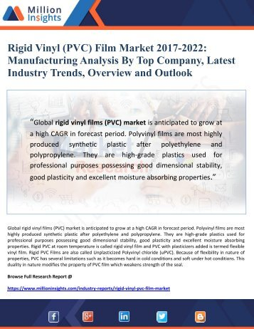 Rigid Vinyl (PVC) Film Market 2017-2022 Manufacturing Analysis By Top Company, Latest Industry Trends, Overview and Outlook