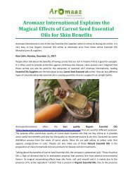 Aromaaz International Explains the Magical Effects of Carrot Seed Essential Oils for Skin Benefits