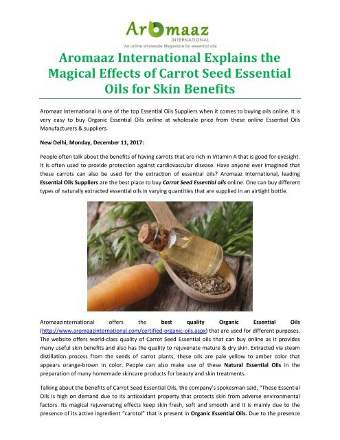 Aromaaz International Explains the Magical Effects of Carrot