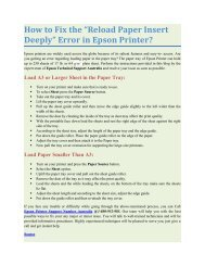 """How To Fix The """"Reload Paper Insert Deeply"""" Error In Epson Printer?"""