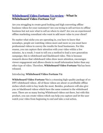 Whiteboard Video Fortune V2 review and Whiteboard Video Fortune V2 $22,700 Bonus
