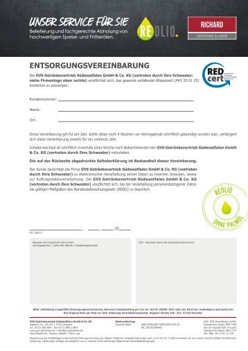 REOLIO Entsorgungsvereinbarung Richard – Version 1