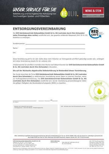 REOLIO Entsorgungsvereinbarung Menke & Stein – Version 1