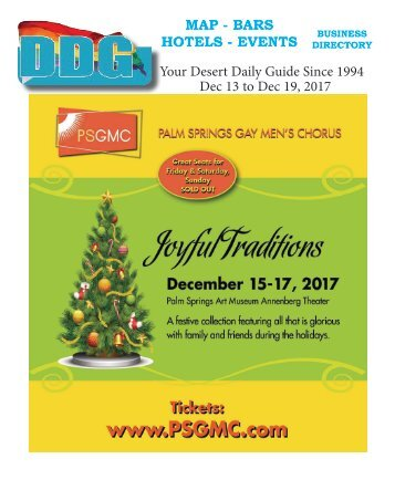 This week Dec. 13 to Dec. 19. Happy Holidays from DDG and Postal Palm Springs