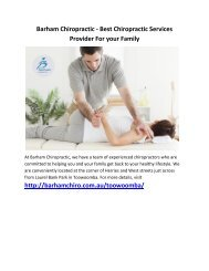 Barham Chiropractic - Best Chiropractic Services Provider For your Family