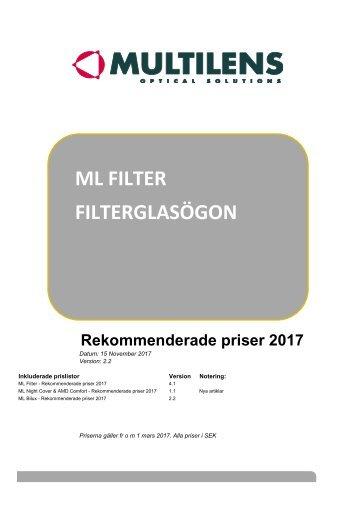 SVERIGE - Rekommenderade priser 2017 - Filter, Filterglasögon - ver 2.2
